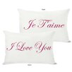 One Bella Casa Je T'aime/I Love You Reversible Lumbar Pillow