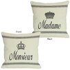 One Bella Casa Madame/Monsieur Reversible Throw Pillow