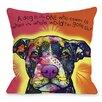One Bella Casa Doggy Décor Love A Bull with Text Throw Pillow