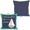 One Bella Casa Sail Away Sailboat with Border Throw Pillow