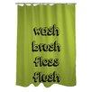 One Bella Casa Wash Floss Brush Shower Curtain