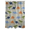 One Bella Casa Dino Buddies Stripe Shower Curtain