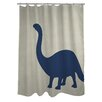 One Bella Casa Brontosaurus Stripe Shower Curtain