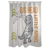 One Bella Casa Big Head Little Arms Dino Shower Curtain