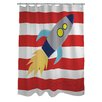 One Bella Casa Rocketship Shower Curtain