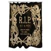 One Bella Casa RIP Skeleton Border Shower Curtain
