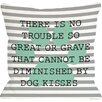One Bella Casa Doggy Décor No Trouble Dog Kisses Stripe Paw Throw Pillow