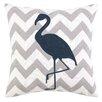 Peking Handicraft Nautical Embroidery Flamingo Cotton Throw Pillow