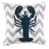 Peking Handicraft Nautical Embroidery Lobster Cotton Throw Pillow