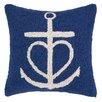 Peking Handicraft Nautical Hook Anchor Heart Throw Pillow