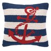 Peking Handicraft Nautical Hook Anchor Stripe Throw Pillow