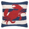 Peking Handicraft Nautical Hook Crab Stripe Throw Pillow