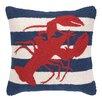 Peking Handicraft Nautical Hook lobster Stripe Throw Pillow