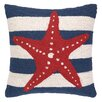 Peking Handicraft Nautical Hook Seastar Stripe Throw Pillow