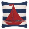Peking Handicraft Nautical Hook Sailboat Stripe Throw Pillow