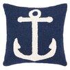 Peking Handicraft Nautical Hook Anchor Wool Throw Pillow