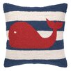 Peking Handicraft Nautical Hook Whale Stripe Throw Pillow