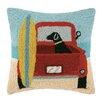 Peking Handicraft Surf Lab with Truck Hook Wool Throw Pillow