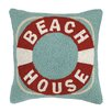 Peking Handicraft Beach House Life Buoy Hook Wool Throw Pillow