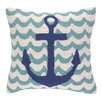 Peking Handicraft Anchor in Waves Hook Wool Throw Pillow