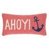 Peking Handicraft Ahoy Anchors Hook Wool Lumbar Pillow