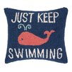 Peking Handicraft Keep Swimming Hook Wool Throw Pillow