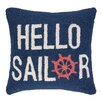 Peking Handicraft Hello Sailor Hook Wool Throw Pillow