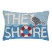Peking Handicraft The Shore Seagull Hook Wool Lumbar Pillow