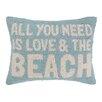 Peking Handicraft Love and the Beach Hook Wool Lumbar Pillow