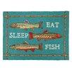 Peking Handicraft Eat Sleep Fish Hook Turquoise Area Rug