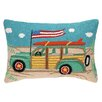 Peking Handicraft Going Places Beach Wagon Hook Wool Lumbar Pillow
