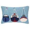 Peking Handicraft Sail Boats Hook Wool Lumbar Pillow