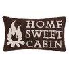 Peking Handicraft Home Sweet Cabin Hook Wool Lumbar Pillow