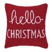 Peking Handicraft Hello Christmas Hook Wool Throw Pillow