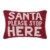 Peking Handicraft Santa Please Stop Here Hook Wool Throw Pillow