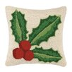 Peking Handicraft Holly Hook Wool Throw Pillow
