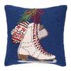 Peking Handicraft Ices Skates Hook Wool Throw Pillow