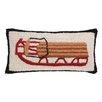 Peking Handicraft Christmas Winter Sledding Hook Wool Throw Pillow