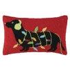 Peking Handicraft Dachshund with Lights Hook Wool Throw Pillow