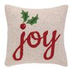 Peking Handicraft Joy with Holly Hook Wool Throw Pillow