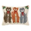 Peking Handicraft Caroling Cat Trio Hook Wool Throw Pillow
