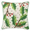Peking Handicraft Holly Berry Hook Wool Throw Pillow