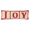 Peking Handicraft Joy Christmas Blocks Hook Wool Throw Pillow