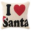 Peking Handicraft I Heart Santa Hook Wool Throw Pillow