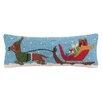 Peking Handicraft Santa's Sleigh Dachshund Hook Wool Throw Pillow