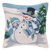 Peking Handicraft Snowman and Friends Hook Wool Throw Pillow