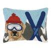 Peking Handicraft Lab Dog Skiing Hook Wool Throw Pillow