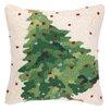 Peking Handicraft Christmas Tree Hook Wool Throw Pillow