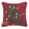 Peking Handicraft Owl with Lights Hook Wool Throw Pillow