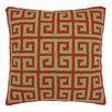 Peking Handicraft Christmas Greek Key Hook Wool Throw Pillow